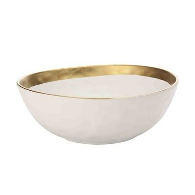 New Maxwell & Williams Swank Bowl 28cm White/Gold