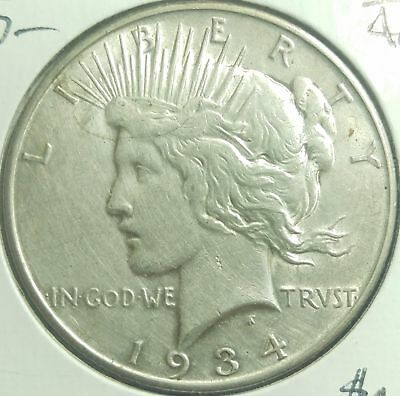 1934 D United States Better Date Peace Silver Dollar Nice #13