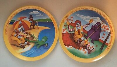 Set of 2 McDonalds 1977 Lexington Melamine Dinner Plates Ronald McDonald