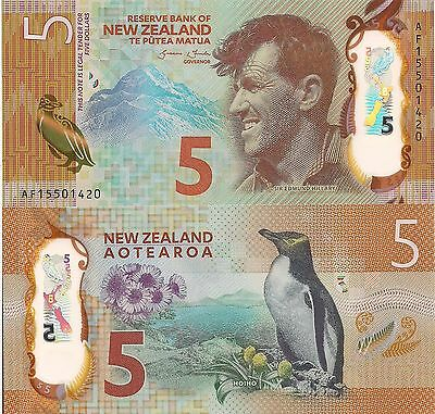 NEW ZEALAND 5 Dollars World Money Polymer UNC Currency Pick p-191 Penguin Bill