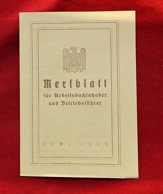 German WWII document MERKBLATT Third Reich original