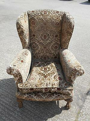 Large Antique Wing-Back Armchair for Re-Upholstery