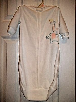 NWOT Carters Unisex White Fleece Sleep Sack Bag Gowns 0-9 Mo. Boy Girl Elephant