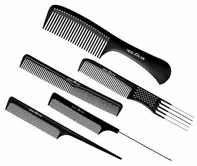Head Jog Professional Hairdressing Cutting Pintail Metal Pin Detangle Comb Black