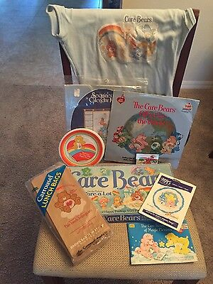 Vintage Care Bear Lot (Game,Bags,Record,Book,Balloon & More) - 9 Items!!