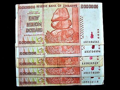 5 x Zimbabwe 50 Billion Dollar banknotes-paper money currency-2008/AA or AB