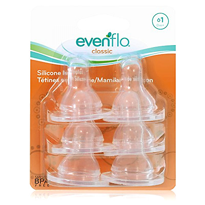 New Feeding Silicone Slow Flow Nipple, Slow, 6 Count Baby Bottle Breastfeeding