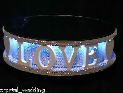 Diamante wedding cake stand 💖 LOVE 💖 + LED lights  -  many words options