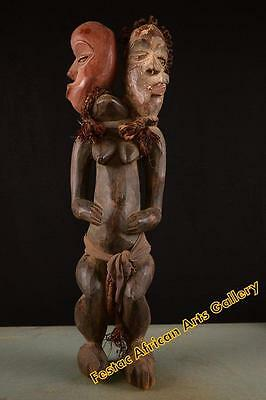 Old Tribal Pende Double Headed Figure Congo Africa 036