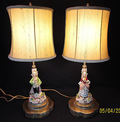 Vintage Large Pair Of Victorian Porcelain Figurine Table Lamps (Pateen Brass)