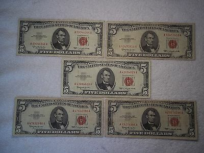 1963 $5 United States Note Red Seal (lot of 5) circulated notes-shown