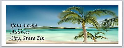 30 Personalized Return Address Labels Beach Palm Trees Buy 3 get 1 free (bo 741)