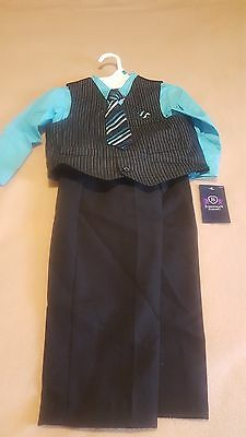 New Boy Jonathan Strong Blue & Black 4 Piece Vest Suit Set Size 3T
