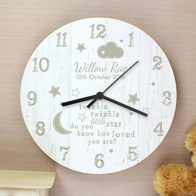 Twinkle Twinkle Wooden Quote Clock Nursery Rhyme Bedroom Boys Girls Baby Gift
