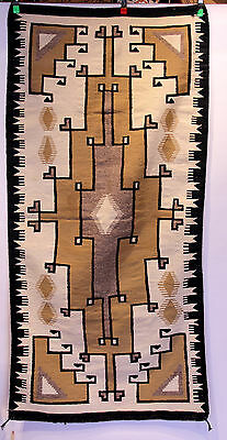 "Runner 74"" x 36"" Navajo Beige/Black/Tan Crystal Natural Geometric Rug"