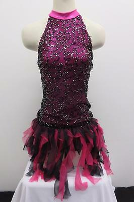 Dance Costume Medium Adult Pink Black Sequin Dress Jazz Tap Solo Competition
