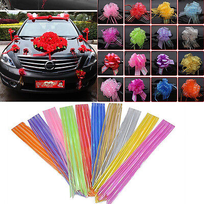 10 Pom Pom Bow 50MM LARGE ORGANZA RIBBON PULL BOWS WEDDING PARTY GIFT WRAP NEW