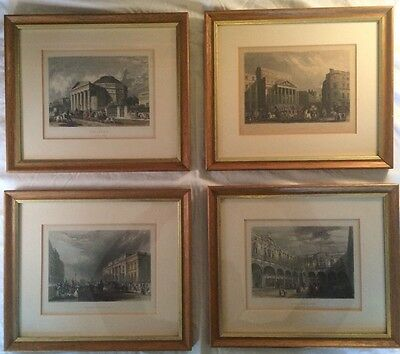 Four Framed Vintage Antique Hand-Coloured Engravings Of London (J. Woods c.1840)