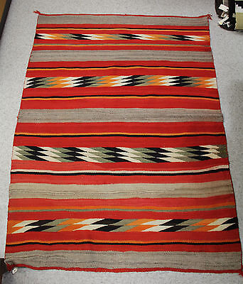 "c1880 Navajo Transitional Rug in Great Condition 57"" x 78"" red-orange,grey-green"