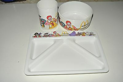1987 McDonalds Kids Plastic Dish Plate / Tray, Cup & Bowl Set - Ronald & Friends