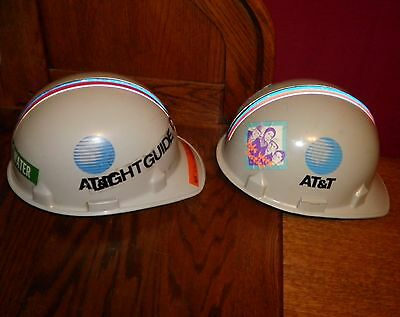 2 Vintage At&t Bell Telephone Jackson Hard Hats Head Gear Utility Worker