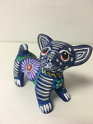 """Hand Painted Ceramic Chihuahua Dog , Alebrije Style , Made In Mexico 4.5"""" X 5"""""""