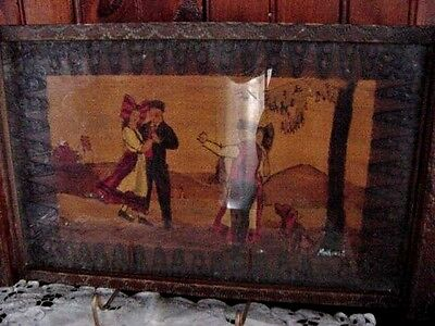 Antique Old Primitive Wooden Hand Carved Serving Tray Hand Painted