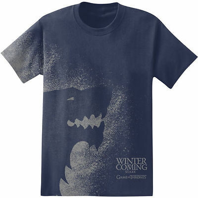 Game Of Thrones WINTER IS COMING STARK SIGIL SPLATTER Navy T-Shirt NWT Licensed