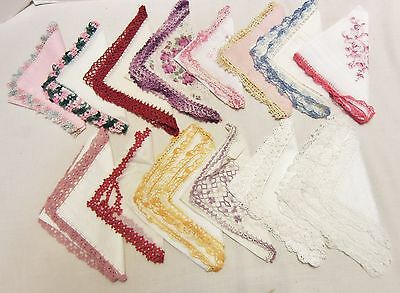 Lot of 14 Vintage Crochet Lace Embroidered Edged Hankies Some New Linen Cotton