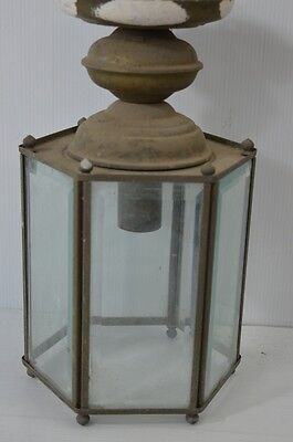 Vintage Antique Ceiling Fixture Lantern Style 6-Sided Bevel Glass Porch Light