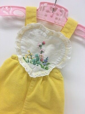 Vintage Size 6-12 Months | Yellow Corduroy Overalls | Embroidery | Eyelet Lace
