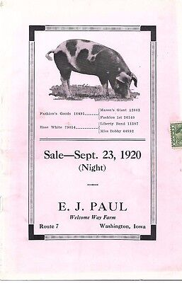 Spotted Poland China Sale Catalog E.J. Paul Washington Ia 1920 Welcome Way Farm