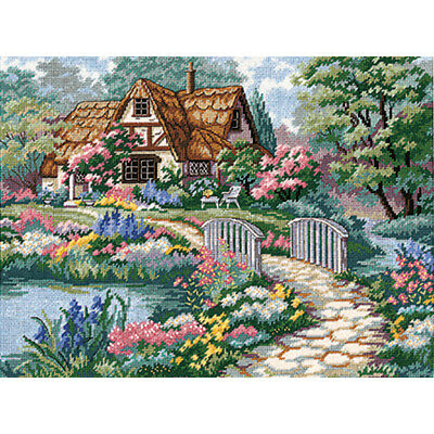 """Dimensions Cottage Retreat Needlepoint Kit-16""""X12"""" Stitched In Thread"""