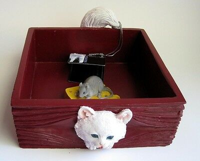 Blue Eyed White Kitty Cat Mouse Cheese Napkin Holder Dresser Caddy Catch All Box