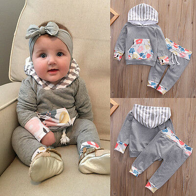 2PCS Newborn Toddler Kids Baby Boys Girls Hooded Tops +Pants Outfits Clothes Set
