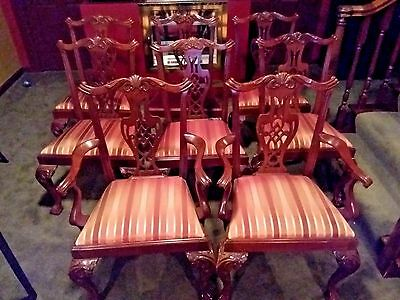 Set Of 8 HICKORY CHAIR CO. Chippendale Mahogany Dining Room Chairs