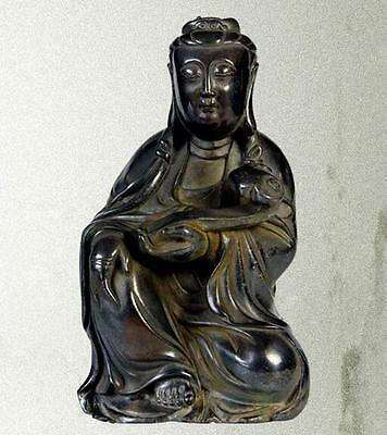 19CM ARCHAISTIC CHINESE BRONZE STATUE OF KWAN-YIN/Classic Home Decor