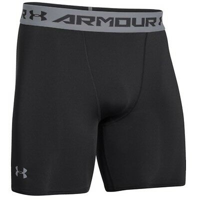 Under Armour 1257470 Men's Black/Steel Heatgear Compression Shorts - Size Large