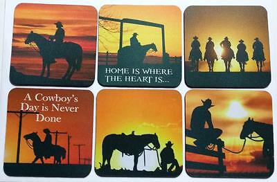 COWBOY, COUNTRY, HORSE SUNSET COASTERS - Non Slip -  PERFECT GIFT