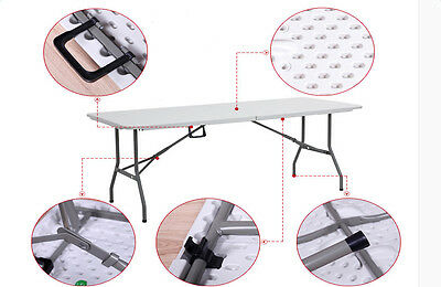 Portable Outdoor 6 FT Folding Dining Table Desk for Camping Garden Picnic Party