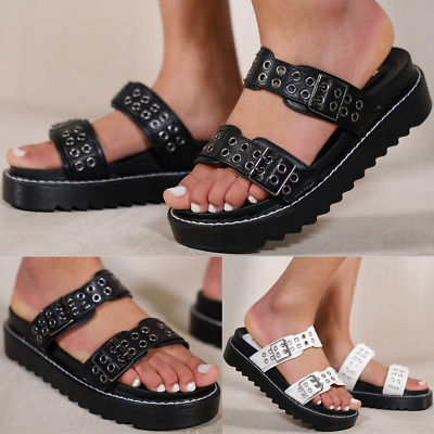 Womens Ladies Comfy Flats Bow Sliders Satin Wedding Bridal Slippers Sandals Size