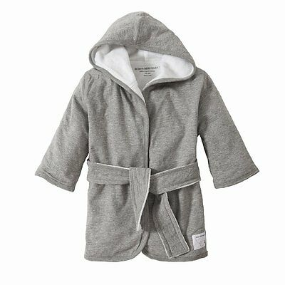 Burts Bees Baby - Infant Hooded Robe, 100% Organic Cotton Heather Gray