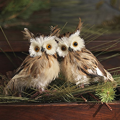 """Ornaments Christmas Feathered OWL Bird Figure 5"""" Tall, Set of 2, Brown"""