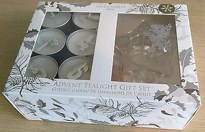 BNIB New Laura Ashley Home Advent Tealight Gift Set - 24 Tealights & Star Holder