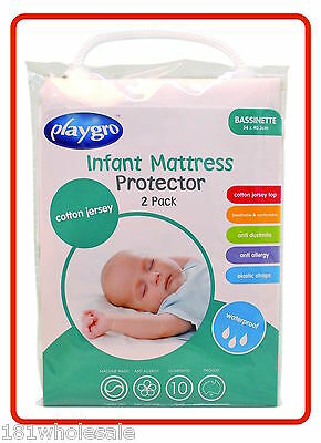 ❤ 2 x Cotton Jersey PLAYGRO BASSINETTE WATERPROOF MATTRESS PROTECTOR Cot Twin ❤