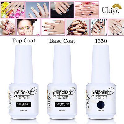 Ukiyo Classic Range 15ml UV Gel Nail Polish Base Coat + Top Coat + 1 Color Set