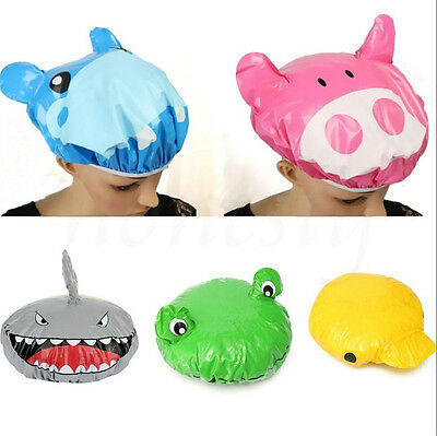 Funny Cartoon Animal Shower Cap Hat Bath Waterproof Kids Travel Hair Protector