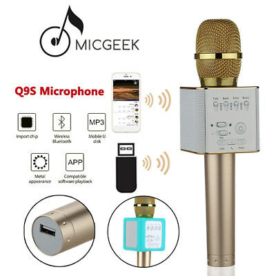 For Smartphone PC MicGeek Q9S Wireless Microphone Bluetooth KTV Karaoke W/ Mic B