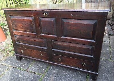 18th Century Antique English Oak Mule Chest/Coffer - Large. Deliver UK/Int'l.