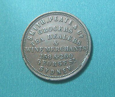 1836 Smith. Peate & Co. 1d, 258 & 260 George Street Sydney NSW, Token R475-A486